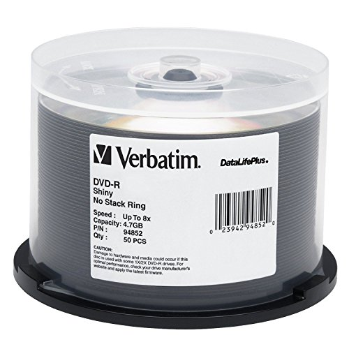 Verbatim Shiny Silver DataLife Plus 8x DVD-R 50 Disc Spindle 94852 by Verbatim