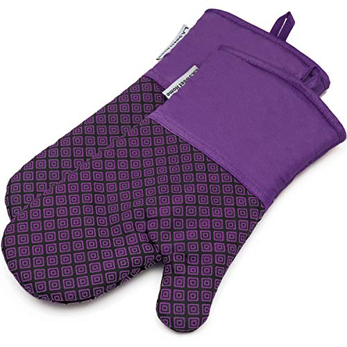 ne Oven Mitts Greek Key Pattern Heat Resistant Potholders Cooking Gloves Non-Slip Barbecue Gloves, Pot Holders,1 Pair(Purple) ()