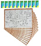 Children's Activity set of 10 Paper Placemats with Set of Crayons Disposable Kids Coloring set - Jungle theme