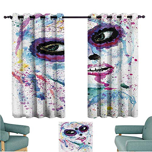 DONEECKL Warm Curtain Girls Grunge Halloween Lady with Sugar Skull Make Up Creepy Dead Face Gothic Woman Artsy Thermal Insulated Tie Up Curtain W55 xL39 Blue Purple