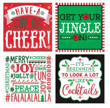 Christmas Cocktail Napkins funny phrases variety pack Beverage paper napkins assorted 64 Napkins
