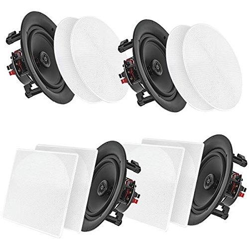 Pyle Bluetooth Flush Mount in-Wall in-Ceiling 2-Way Speaker System Quick Connections Changeable Round/Square Grill Polypropylene Cone & Tweeter Stereo Sound