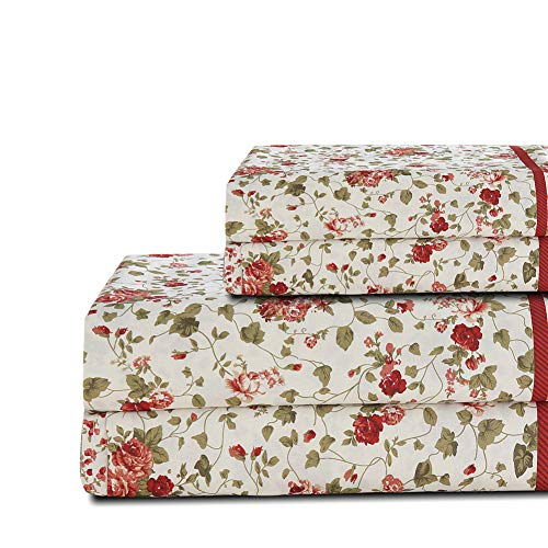 Deep Flat Sheet - Bedlifes Floral Sheet Set Twin Size Green Leaves Deep Pocket Bed Sheets Flat Sheet& Fitted Sheet& Pillowcase 100% Microfiber 3PCS Flowers Patterned Twin