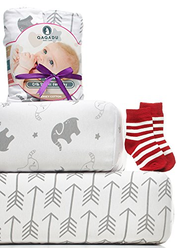 Crib Sheets - 2 Pack Fitted Crib Sheet Set - For Baby Girl & Boy as Toddler, Infant - Jersey Cotton Mattress Covers for Bed - Elephants & Arrows Unisex (Infant Crib)