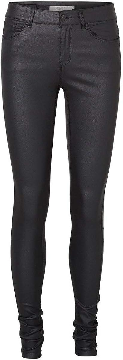 Vero Moda Vmseven NW S.Slim Smooth Coated Pants Pantalones para Mujer