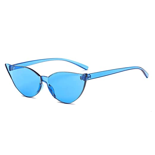 0f7a5c687821 One Piece Rimless Cat Eye Sunglasses Transparent Candy Color Women Tinted  Eyewear