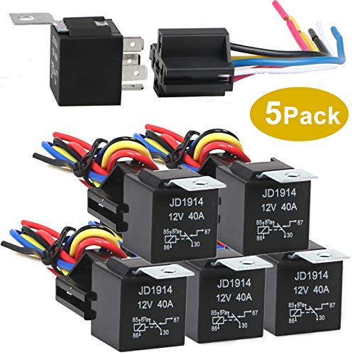 Sunjoyco 5 Pack 12V DC 30/40 Amp Relay Harness Socket Set, 5-Pin SPDT Bosch Style Automotive Relay with Wires - Heavy Duty & Interlocking Design