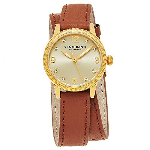 Double Wrap Watch - Stuhrling Original Women's 646.02 Vogue Swiss Quartz Crystals Double Wrap Gold Watch