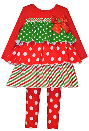 Bonnie Baby Girl Christmas Holiday Tiered Legging Set (18m, 24m) (18 -