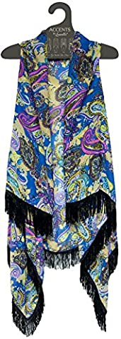 Lavello Sheer Designer Vest, Purple Paisley, One Size - Designer Sheer