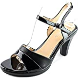 Patrizia Piera Women's Sandal,Black-Shiny,38