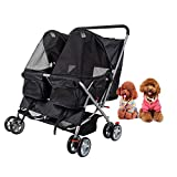 Dporticus 4 Wheel Pet Stroller Foldable Two-Seater Carrier Strolling Cart for Dog、 Cat and More Multiple Colors Larger Image