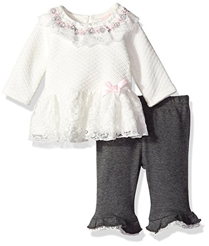Little Lass Baby Girls' 2 Piece Ruffle Tulle Pant Set, Ivory, 6-9 Months