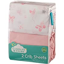 Cuddles & Cribs 2 Pack GOTS Certified Organic Cotton Fitted Crib Sheet