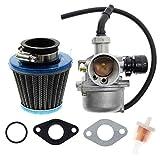 AUTOKAY ATV Lever Choke Carburetor PZ19 35mm Air Filter for 50cc 70cc 90cc 110cc 125cc ATV Dirt Pit Bike Taotao Honda CRF carb
