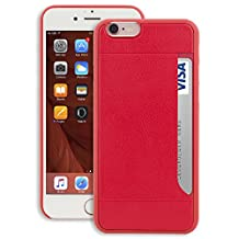iPhone 6S Plus Wallet Case - [GapFree] OZAKI O!coat 0.4 [POCKET] Ultra Slim & Light Weight Premium Leather Integrated Case with Card Holder For iPhone 6/s Plus (5.5 inch) - Red