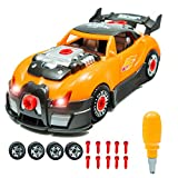 Take Apart Toys Racing Car Kit Set – Build Your Own Model Race Car Kit Construction Set (Orange Race Car) – 28 Take-A-Part Pieces With Engine Sounds & Toy Tools For Kids