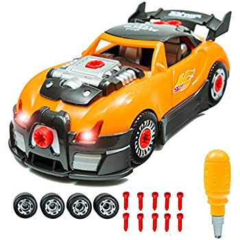 innovative brain world racing car take a part toy for kids with 28 take apart toy pieces build your own race car set with hand drill realistic sounds and