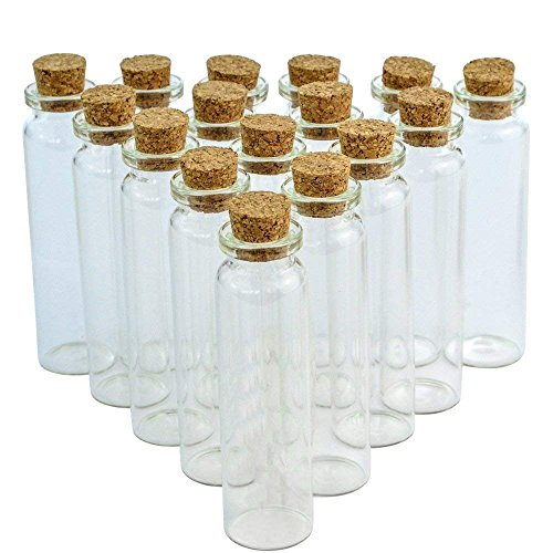 Wobe 24 Pcs 20ml Cork Jar Glass Bottles, DIY Decoration Mini Glass Bottles Sample Jars, Small Vials Cork Message Bottles]()