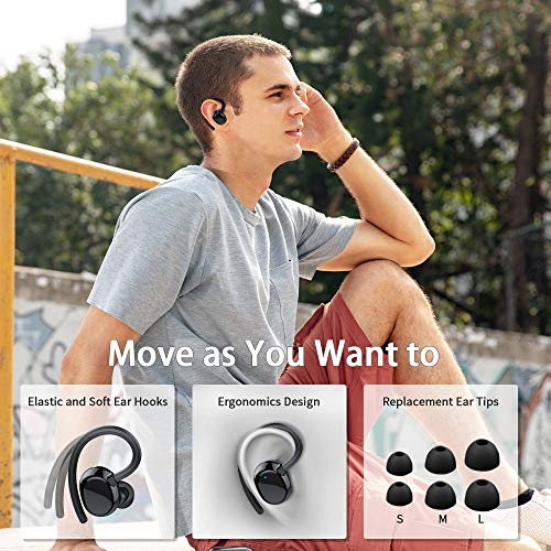 LYCHL Auriculares Inalambricos Deportivos, Auriculares Bluetooth 5.0 Sport IP7 Impermeable Cascos Bluetooth In-Ear Auriculares Wireless Running con Mic, 100 Horas y Pantalla LED, Viajes, Deporte