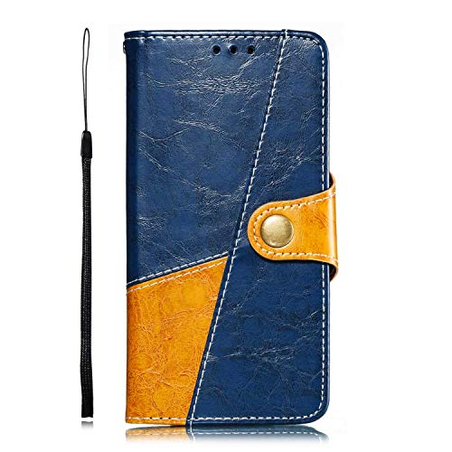 (Galaxy S10e Case, Bear Village Two-Color Premium Soft Leather Case, Shockproof TPU Interior Cover Flip Case with Stand Function for Samsung Galaxy S10e (#6 Blue))