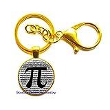 Pi Keychain Math Jewelry Teachers, Science, Mathematics Black White Art Key Ring, Math Keychain,Geometry Keychain-JP220 (C3) -  stintless charming Jewelry