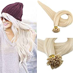 "Full Shine 18"" Keratin Remy 100% Human Hair Extension Color #60 White Blonde U Tip Human Hair Extension 1g/Strand 50 Gram Per Package"
