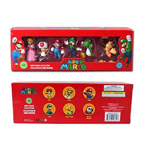 EASTVAPS 6 Unids / Set Super Mario Bros PVC Figura de Accion Muneca de Juguete Mario Luigi Yoshi Burro de Hongos