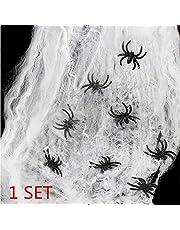 heekpek 65g Tela de Araña con 8 Arañas Decoraciones de Halloween Telarañas Haunted House Arañas de Plástico de Halloween Negras para Materiales de Fiesta de Halloween o Disfraces (1 Set)
