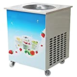 Genmine Fried Ice Cream Machine, Single Round Pan Fried Ice Cream Roll Maker Pan Diameter 14.2' Commercial Fried Milk Yogurt Machine (Shipping From USA)