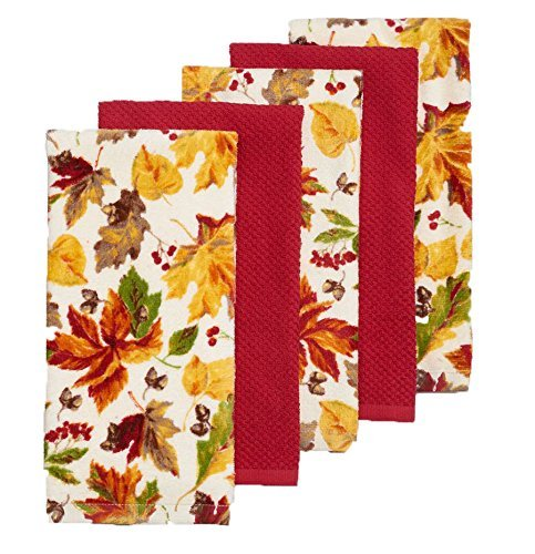 The Big One Leaf Orchard Kitchen Towel 5 Pack.Autumn Theme