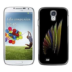 Be Good Phone Accessory // Dura Cáscara cubierta Protectora Caso Carcasa Funda de Protección para Samsung Galaxy S4 I9500 // Art Wing Color Design Pattern Rainbow
