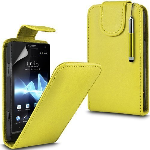 Sony Xperia S Lt26i Leather Flip Case Cover (Yellow) Plus de regalo libre, Protector de pantalla y un lápiz óptico, Solicitar ahora mejor caja del teléfono Valorado en Amazon! By FinestPhoneCases
