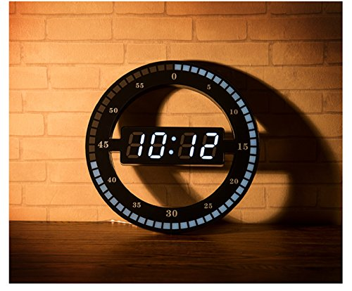 HOT! 13 Inchs Large 3D LED Digital Circling Wall Clock Big Desk Clocks Modern Design Home Decor Automatically adjust the brightness (31 x 31 x 2.3cm, - Stopwatch Polar