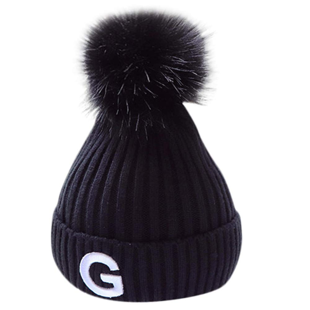 Vovotrade かわいいボールニット かぎ針編み 帽子 幼児 赤ちゃん キッズ 男の子 女の子 ビーニー 冬 暖かいキャップ  ブラック B07J1W42ZJ