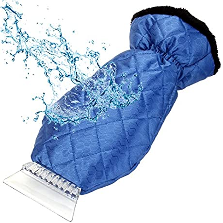 Ice Scraper E YOBE Windshield Snow Scrapers With Waterproof Glove And Thick Fleece Lining Dry Ice And Keep Your Hands Warm Car Window Scraper Tool With Mitt