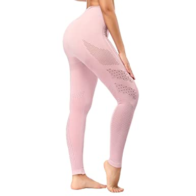 577ff50e7528a SEKERMAET Yoga Leggings High Waist, Gym Workout Tights Athletic Pants  Running for Women Compression Pink