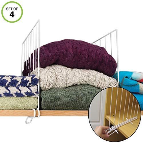 Evelots Closet Wood Shelf Divider-New & Improved-Separator-Easy Clip-Steel-Set/4 (Dividers Sweater Closet)