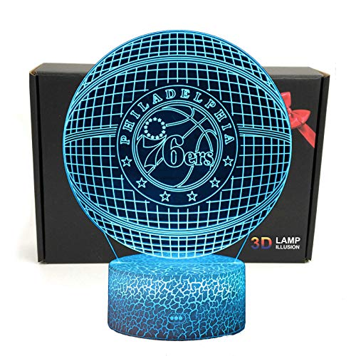 - Deal Best LED NBA Team 3D Optical Illusion Smart 7 Colors Night Light Table Lamp with USB Power Cable (76ERS)