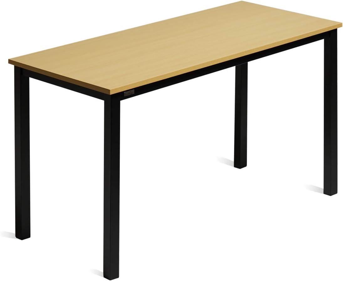 DECOHOLIC Computer Desk 47 Inch PC Laptop Study Table Office Desk Workstation for Home Office, Modern Industrial Style,Oak Board Black Leg