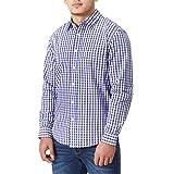 Charles Wilson Originals Long Sleeve Men's Gingham Checked Casual Shirt (Large, Purple & Navy)
