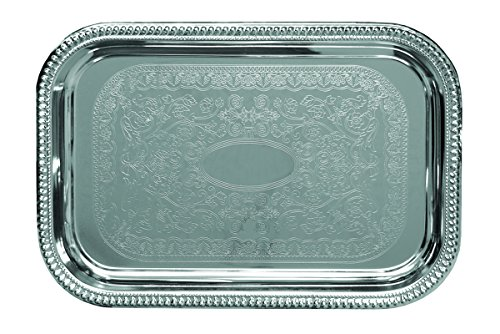 (Update International CT-1812B Embossed Serving Tray Oblong, 18 x 12 in, Stainless Steel)