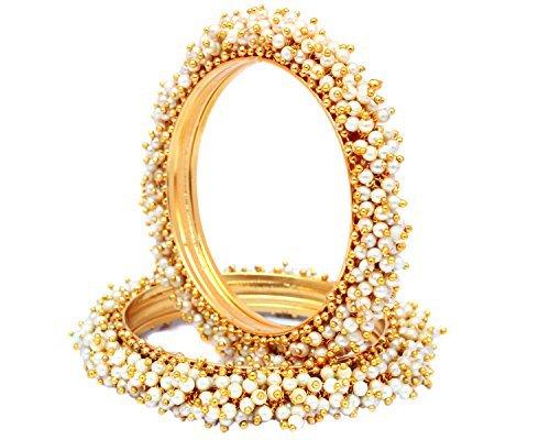 Sanara Indian Style Gold Plated Pearl Studded Bracelets Bangle Set Wedding Jewelry For Women (2.8) ()