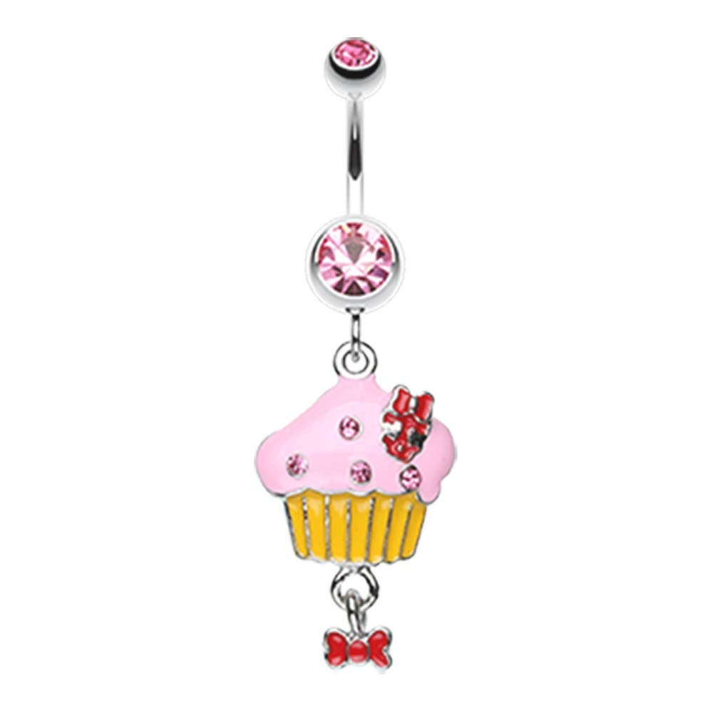 Multiple Colors 14 GA Yummy Cupcake Bow Belly Button Ring 316L Surgical Stainless Steel Body Piercing Jewelry For Women and Men Davana Enterprises