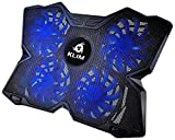 KLIM Wind Laptop Cooling Pad - Support 11 to 19 Inches Laptops, PS4 - [ 4 Fans ] - Light, Quiet Rapid Cooling Action - Ergonomic Ventilated Support - Gamer USB Slim Portable PC Gaming Stand (Blue)