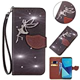 Leecase Bling Diamond Sparkle Glitter 3D PU Leather Bookstyle Magnetic Closure Wallet Flip Cover Creative Lovely Cute Fairy Rhinestone Leaf Pattern for Samsung Galaxy Core Prime G360-Black