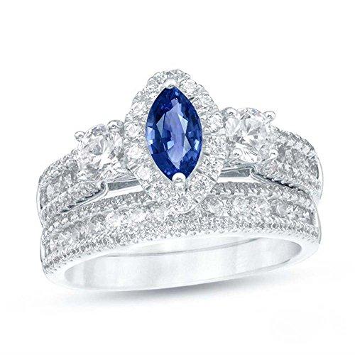 TVS-JEWELS Women's Bridal Set Engagement Wedding Ring Marquise Shape Blue Sapphire ()