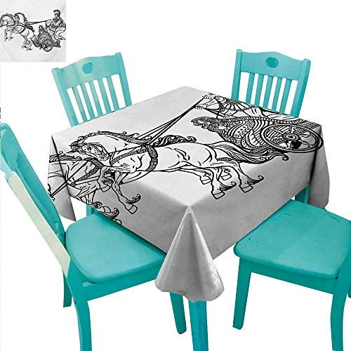 - Toga Party Elegant Waterproof Spillproof Polyester Fabric Table Cover Roman Warrior in a Chariot Pulled by Two Horses Historic Carriage Monochrome Runners,Gatsby Wedding,Glam Wedding Decor,Vintage We