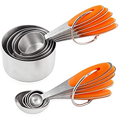 Chef U Measuring Cups and Spoons - Set of 10 Pieces - Premium Quality - Sturdy Build, Lightweight, Rust Proof - Engraved Measurements, Food Grade Silicone Grip - Can be Nested and Stacked (Orange)