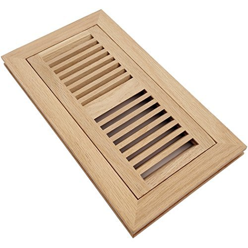 Homewell Red Oak Wood Floor Register Vent, Flush Mount with Frame, 4x10 Inch, Unfinished